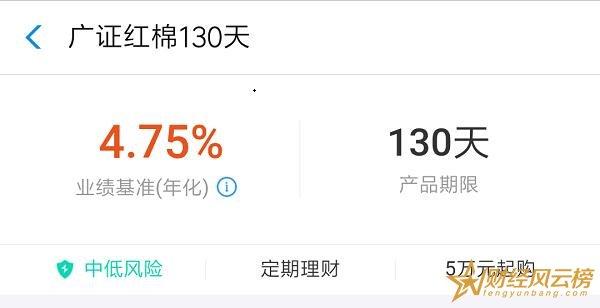 支付宝广证红棉130天怎么样,业绩基准4.75%(风险中低)